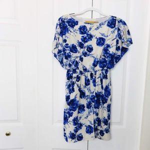 Alice + Olivia Blue Floral Silk Dress
